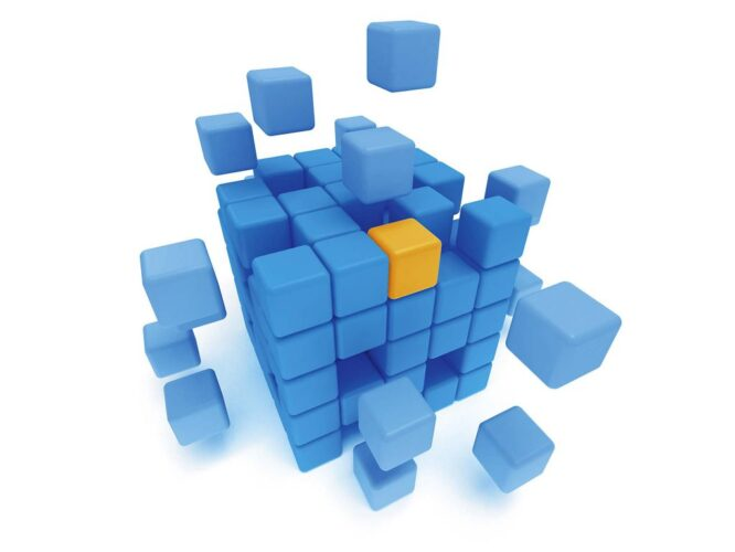 Cubes block. Assembling concept. On white.